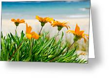 Orange Flowers On The Sunny Ocean Beach Painting By Yurix
