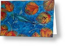 Orange Leaves And Fish Greeting Card by Carolyn Doe