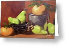 Orange Pears Greeting Card by Lilibeth Andre