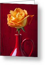 Orange Rose In Red Pitcher Greeting Card by Garry Gay