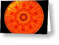 Orange Rose Kaleidoscope Under Glass Greeting Card