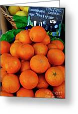 Oranges Displayed In A Grocery Shop Greeting Card
