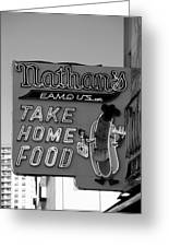 Original Nathan's In Black And White  Greeting Card