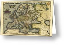Ortelius's Map Of Europe, 1570 Greeting Card