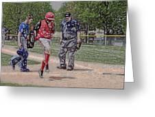 Ouch Baseball Foul Ball Digital Art Greeting Card