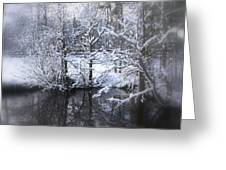 Our Pond In The Snow Greeting Card