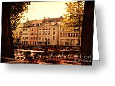Outdoor Cafe In Lucerne Switzerland  Greeting Card