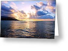 Outrigger Canoes Hanalei Bay Kauai Greeting Card