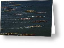 Outrigger Canoes Race From Molokai Greeting Card