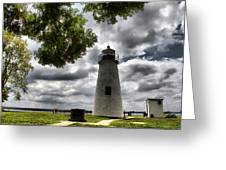 Overcast Clouds At Turkey Point Lighthouse Greeting Card
