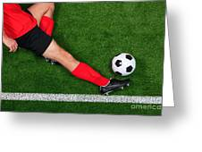 Overhead Football Player Sliding Greeting Card by Richard Thomas