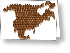 Overpopulation Of North America Greeting Card by Victor De Schwanberg