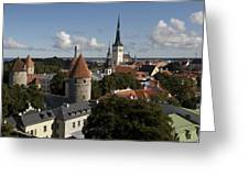 Overview Of Old Town, Medieval Greeting Card