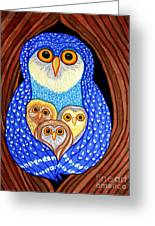 Owl And Owlettes Greeting Card