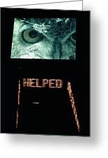 Owl Eye Zipper Sign Times Square Greeting Card