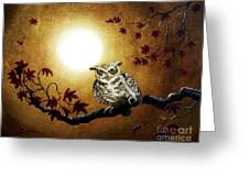 Owl In Maple Leaves Greeting Card
