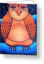 Owl In Oil Greeting Card by Barbara Stirrup