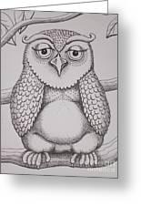 Owl Sketch Greeting Card by Barbara Stirrup
