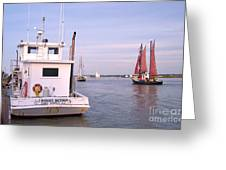 Oyster Boat On The River  Greeting Card