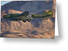 P-38 Gear Up Greeting Card by Tim Mulina