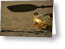 Paddling A Kayak Over Walden Pond Greeting Card
