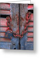 Padlock And Chain On Wooden Door Greeting Card