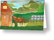 Paint Pony At Red Schoolhouse Greeting Card