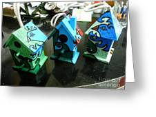 Painted Birdhouses Greeting Card