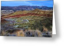 Painted Hills At Dusk Greeting Card