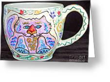 Painted Kitty Mug Greeting Card by Joyce Jackson