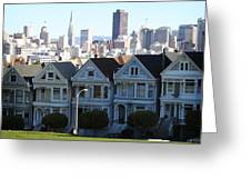 Painted Ladies Greeting Card by Linda Woods