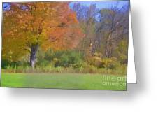 Painted Leaves Of Autumn Greeting Card
