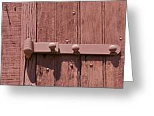 Painted Red Iron Hinge On A Red Barn Door Greeting Card