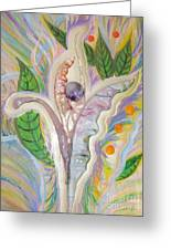 Painting And Fused Glass Flora Greeting Card by Judy Via-Wolff