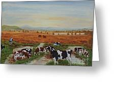 Painting Cows On Cors Caron Tregaron Greeting Card
