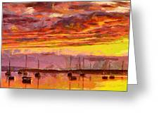 Painting With Boats At Sunset Tnm Greeting Card