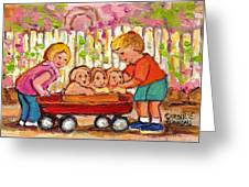 Paintings For Children - Boy - Girl - Red Wagon And Puppies Greeting Card