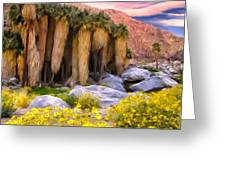 Palm Oasis And Wildflowers Greeting Card