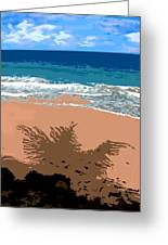 Palm Shadow On The Beach Greeting Card