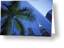 Palm Tree And Reflection Of Petronas Greeting Card
