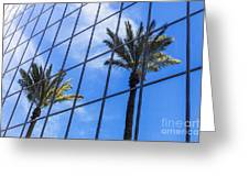 Palm Trees Reflection On Glass Office Building Greeting Card