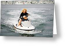 Pamela Anderson Is A Jet Ski Vixen Greeting Card