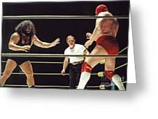 Pampero Firpo Vs Texas Red In Old School Wrestling From The Cow Palace  Greeting Card