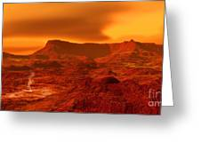 Panorama Of A Landscape On Venus At 700 Greeting Card