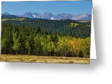 Panorama Scenic Autumn View Of The Colorado Indian Peaks Greeting Card