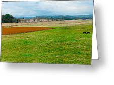 Panorama Valley Farm Greeting Card