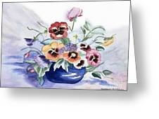 Pansies In Blue Pot Greeting Card