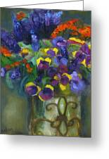 Pansies Greeting Card by Susan Hanlon