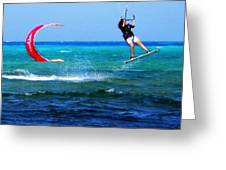 Para Surfing In Cozumel Mexico Greeting Card