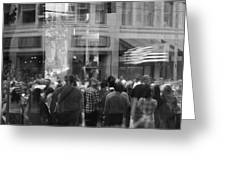 Parade Crowd Reflected Greeting Card